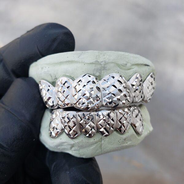 white gold satin diamond cut grillz